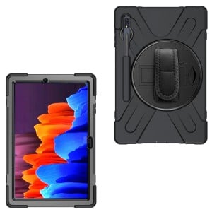 """Tuff-Luv Armour Jack Rugged Case & Pen Holder for Samsung Galaxy Tab S7 Plus T970/T975 (12.4"""") - Black"""