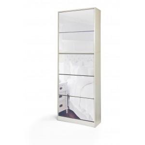 Fine Living Mirror Shoe Cabinet- 3+2tier G/W Grain