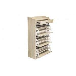 Fine Living Mirror Shoe Cabinet - 3 Tier with Draw
