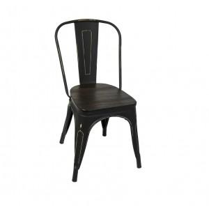 Retro Metal Chair - Metal finish Wood Seat
