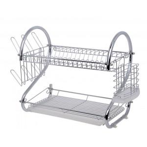 Fine Living Double Layer Dish Rack - Chrome