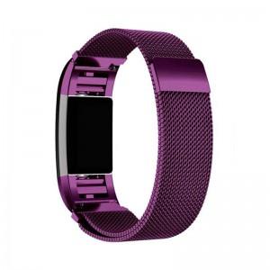 Fitbit Versa Magnetic Milanese Loop Stainless Steel Watch Band - Purple