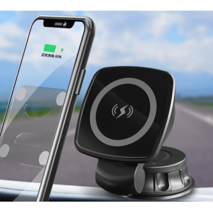Magnetic Car Mount Holder and Fast Wireless Cell Phone Charger - With Suction Cup