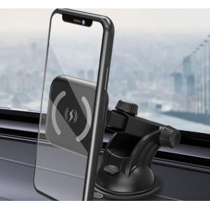 Magnetic Car Mount Holder and Fast Wireless Cell Phone Charger - With Suction Cup And Extension Arm