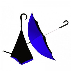Upside down Umbrella J-Handle with Opposite Folding Layer