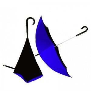 Upsidedown Umbrella J-Handle with Opposite Folding Layer