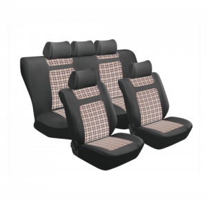 Stingray TARTAN BEIGE GINGHAM 11PC SEAT COVER SET SA150 Car Seat Covers