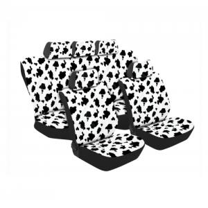 Stingray TEXAS COW PRINT 11PC SET WHITE/BLACK SA180 Car Seat Covers