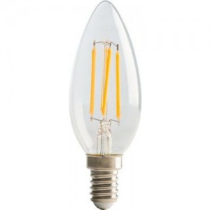 Luceco Filament Candle SES14, 4W, 470LM Warm White, 2700K Non-Dimmable Lamp