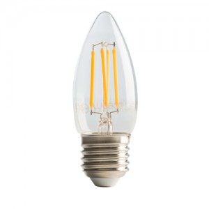 Luceco Filament Candle E27, 4W, 470LM Warm White, 2700K Dimmable Lamp