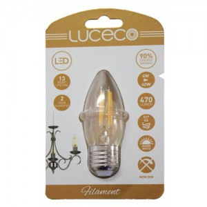 Luceco Filament Candle E27, 4W, 470LM Warm White, 2700K Non-Dimmable  Lamp