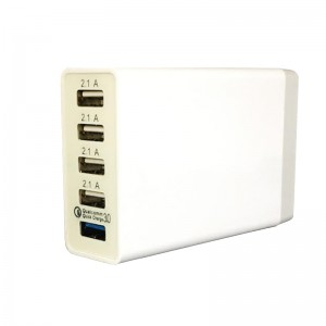 5 Port QC3 Universal Multi USB Charger 8A USB Hub (40W) - 1x QC3.0 port