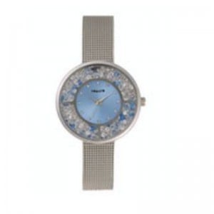 Tomato Ladies Light Blue+Stones Dial Silver 36mm Case Watch
