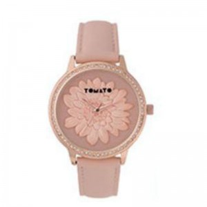 Tomato Ladies Pink&3D Flower Dial RG Stone39mm Case Watch