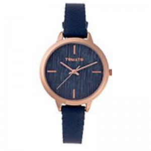Tomato Ladies Navy Brushed Lines Dial Iprg Case Watch