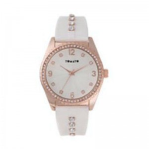 Tomato Ladies White Dial/Stones Iprg 42mm Watch