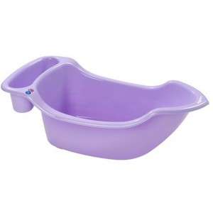 Babymoov Boat Bathtub (Purple) - 1 side for new-born babies, 1 side for children, Compatible with all baby bathers, Drain plug,
