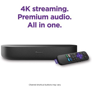 Roku Streambar 4K/HD/HDR Streaming Media Player & Premium Audio All-In-One with Roku Voice Remote (2020 Release)