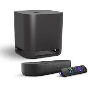 Roku Streambar 4K/HD/HDR Streaming Media Player & Premium Audio All-in-One with Roku Voice Remote (2020 Release) + Roku Wireless Subwoofer