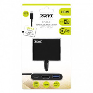Port USB Type-C to 1 x HDMI|1 x USB3.0|1 x Type-C 60W PD Dock - Black