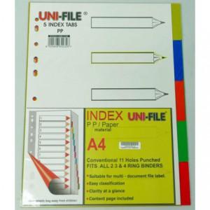 Uni-File A4 File Divider Plastic Tab1-5