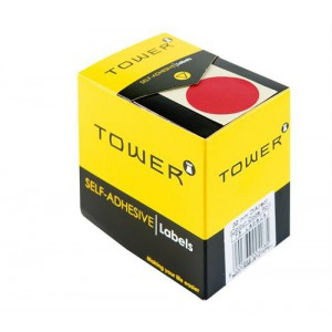 Tower Round 250 Red Dot Roll Labels