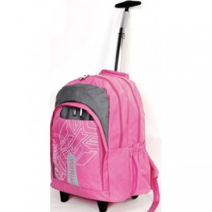 Macaroni Cartella Universal Student Backpack with Trolley - Pink and Grey