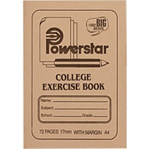 Powerstar A4 72 Page College Feint & Margin Exercise Book - Single