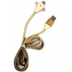 Geeko 3 in 1 Multiport USB Data and Charge Cable - Gold