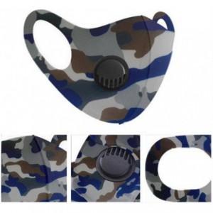 Casey Reusable 3D Structured Unisex Dual Layer Face Masks With Breath Valve Colour Camo Blue