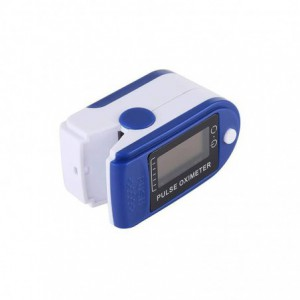 Jziki Pulse Oximeter Fingertip Blood Oxygen Monitor with LED Display – White/Blue