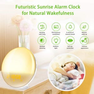 Burbupps Wake up light alarm clock with FM Radio and USB Charging Port - Works with Alexa 7 Google Home