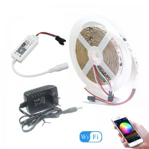 5m ADDRESSABLE RGBIC Wifi Smart LED Strip Light kit with DC12V Power Supply - alexa/google home enabled