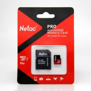 Netac P500 Extreme Pro 128GB Class 10 V10 U1 MicroSDXC Card & Adaptor