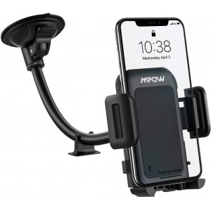 Mpow Car Phone Mount - Long Arm Windshield Phone Holder - Washable Suction Cup Car Mount