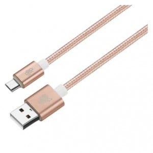 Pro Bass Braided Series Micro USB Cable Pastel Pink 1.5m