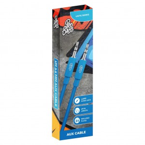 Pro Bass Unite Series- Boxed Auxiliary Cable - Blue - 1m