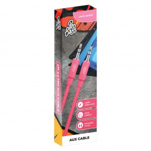Pro Bass Unite Series- Boxed Auxiliary Cable - Pastel Pink - 1m