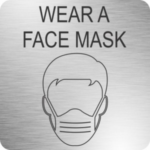 Parrot Face Mask Safety Sign (210 x 210mm - Brushed ACP)