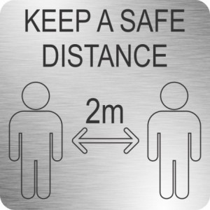 Parrot Safe Distance Sign (210 x 210mm - Brushed ACP)