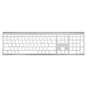 Macally Rechargeable Aluminum Quick Switch Bluetooth Keyboard for Three Devices