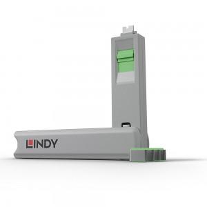 Lindy USB Type C Port Blocker 4pcs with Key - Green