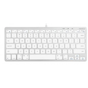 Macally Compact Aluminum USB Wired Keyboard for Mac and PC
