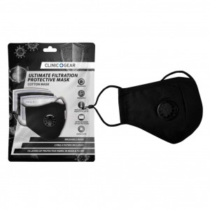 Clinic Gear Washable Protective Mask with Filter - Black