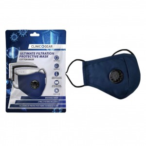 Clinic Gear Washable Protective Mask with Filter - Navy