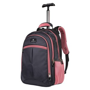 Volkano Orthopaedic Trolley Backpack 27L - Dark Grey/ Pink