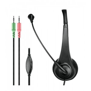 Astrum Wired Stereo Headset with Mic - Black