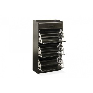 Fine Living Mirror Shoe Cabinet - 3 Tier with Draw - Wenge