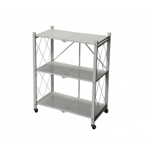 Fine Living Foldable Storage Rack-White Metal 3 Layers