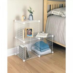 Wire 4 Cube Cabinet - White